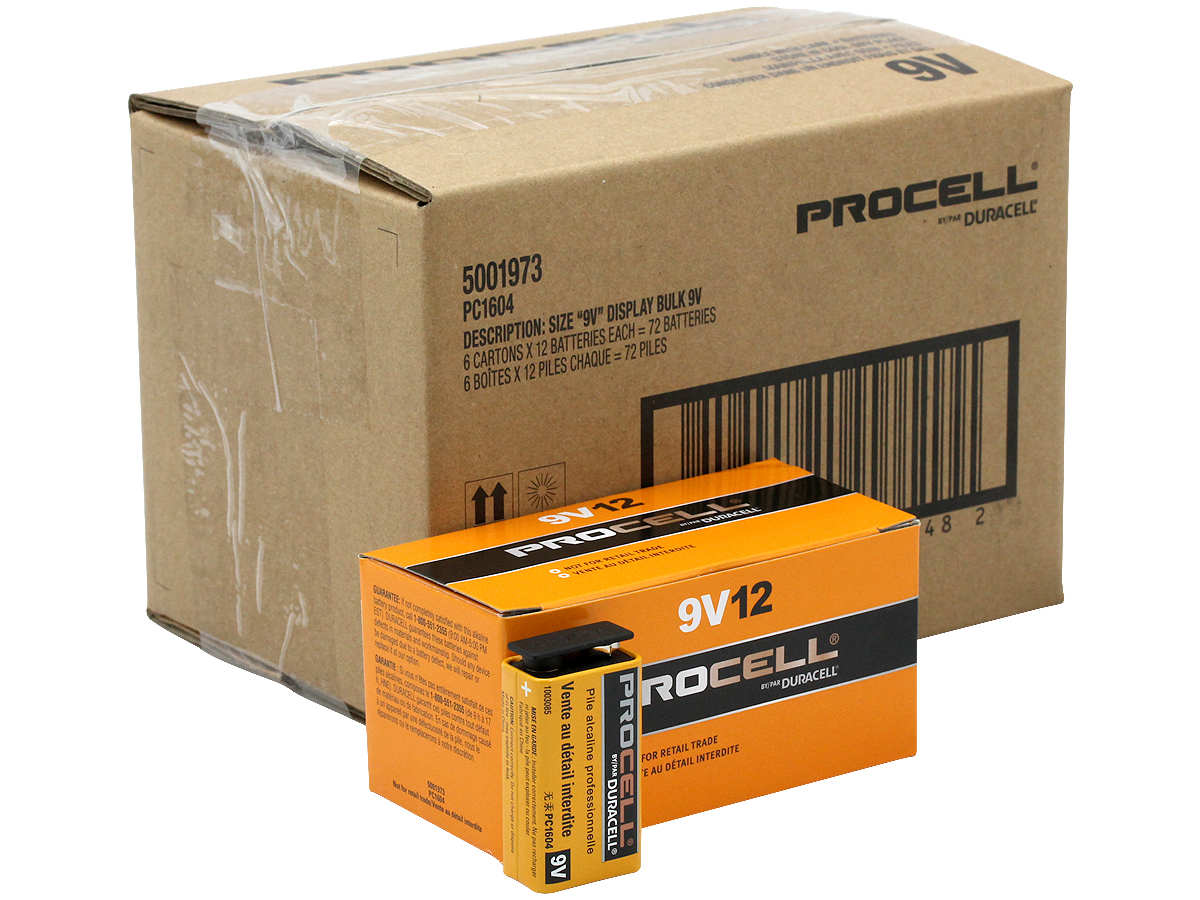 Size comparison of battery, box, and shipping container for Duracell Procell 9V
