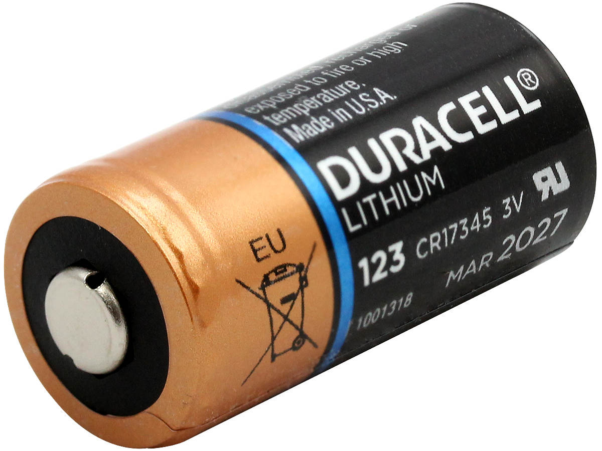 Side angle of Duracell Ultra CR123A