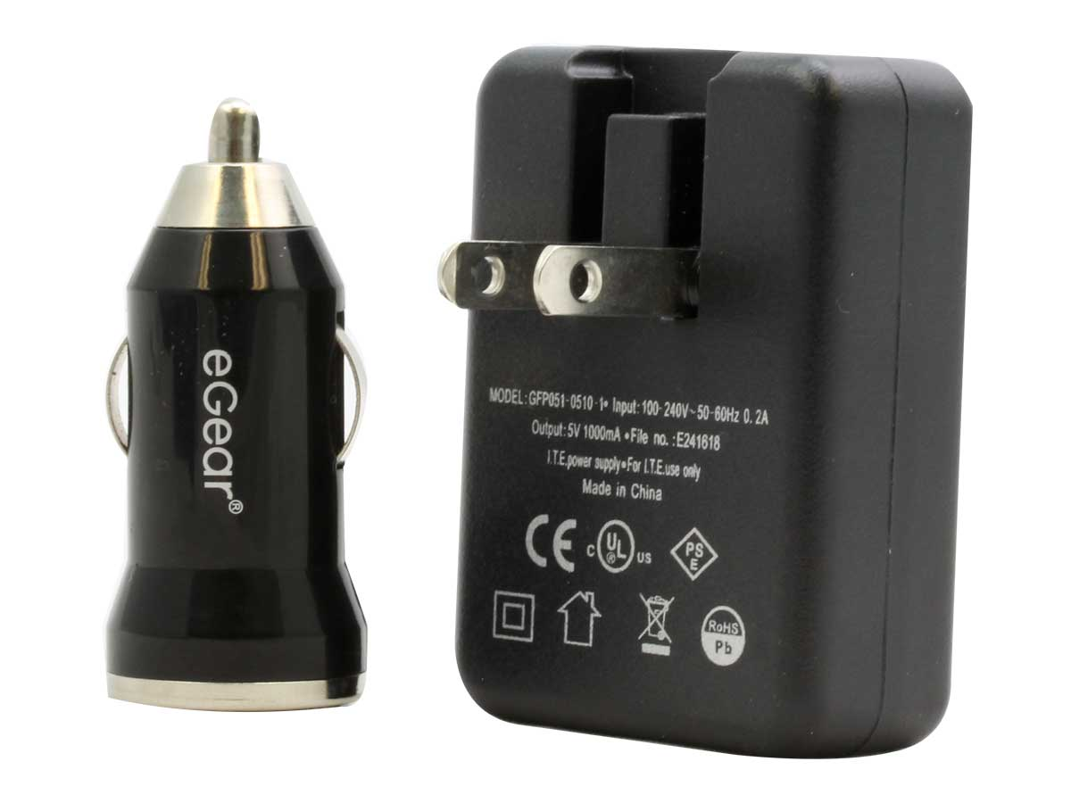eGear Universal USB Wall and Car Converter with its accessories