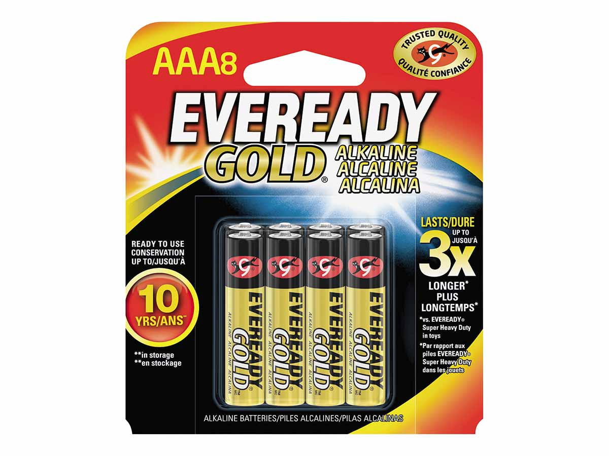 Energizer Eveready batteries in 8 piece retail card