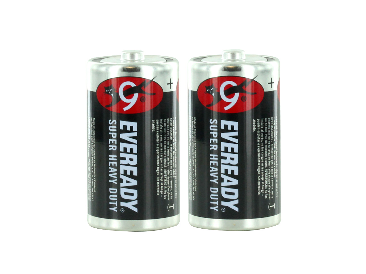 2 Energizer Eveready D-cells upright