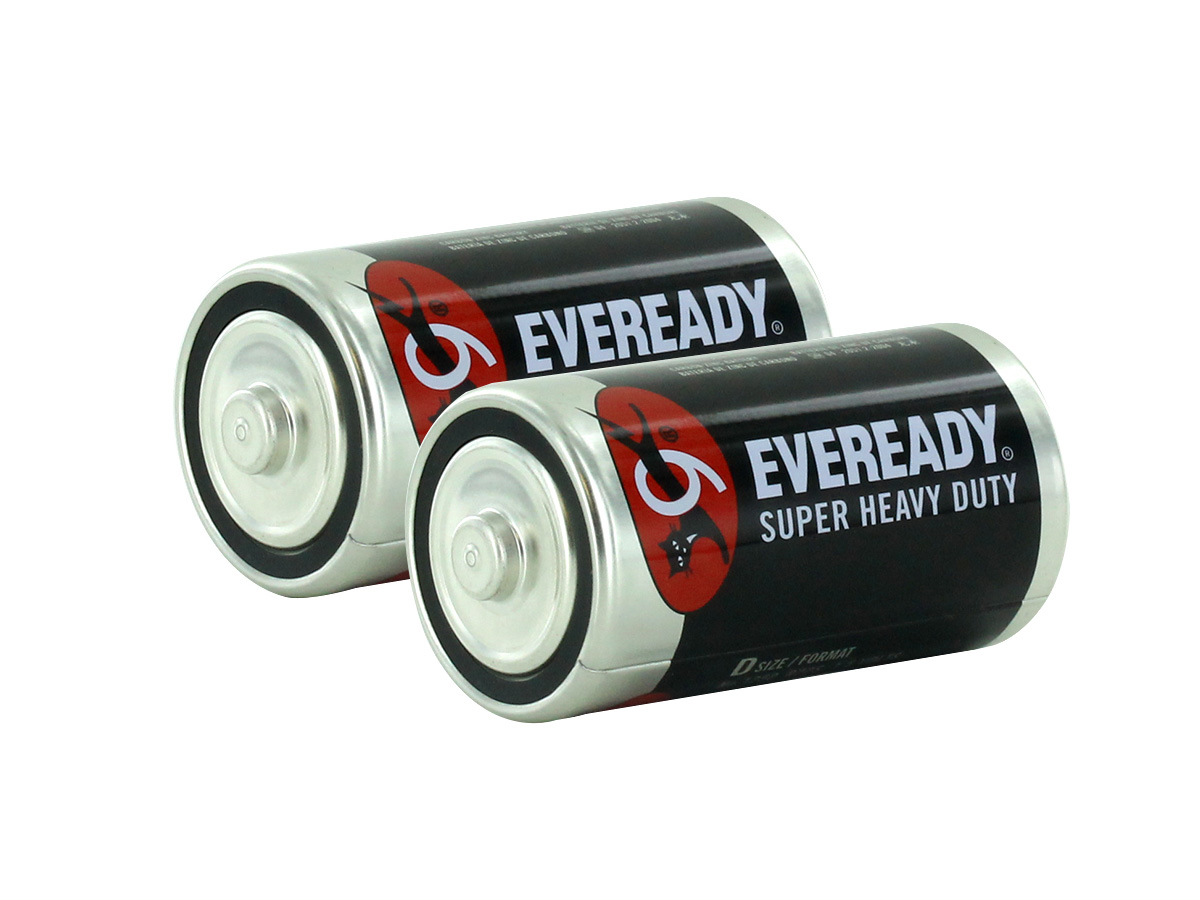 2 Energizer Eveready D-cells left side angle