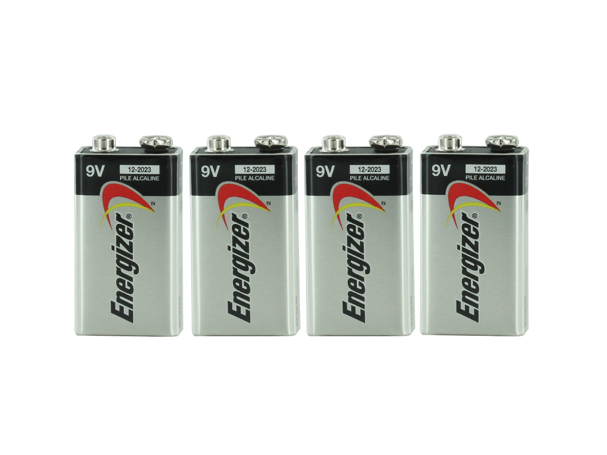 4 Energizer Max 9V alkaline batteries upright