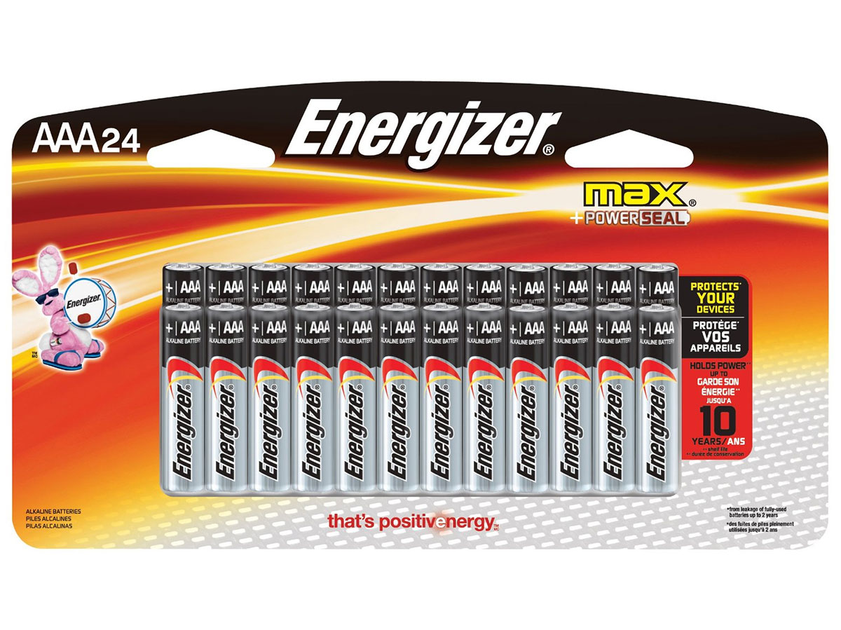 Energizer E92 AAA batteries in 24 piece retail card