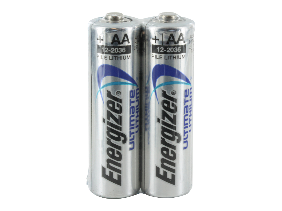 2 Energizer Ultimate L91 AA batteries shrink wrapped and upright