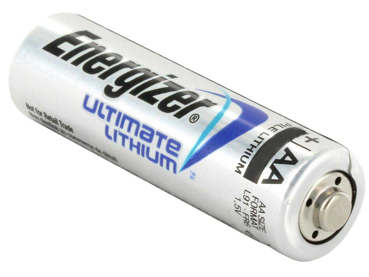Energizer Ultimate L91 AA battery right side angle