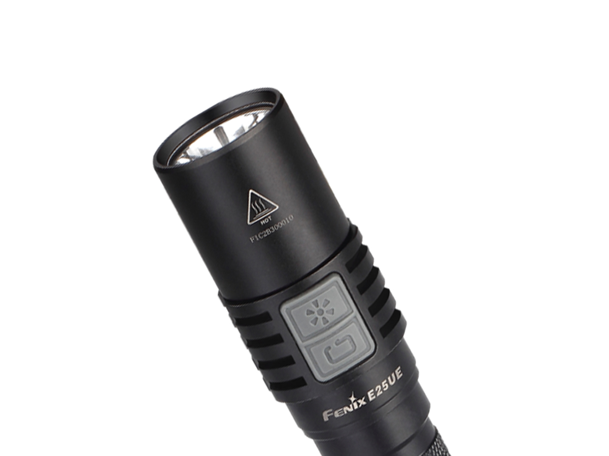Fenix E25UE with close up of head of flashlight