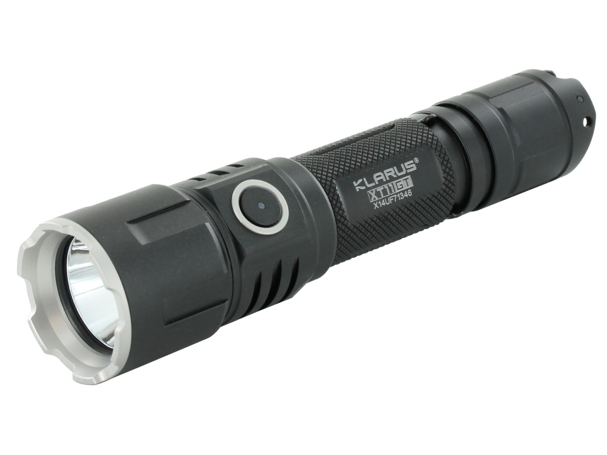 Klarus XT11GT HD Rechargeable Tactical Flashlight black at an angle