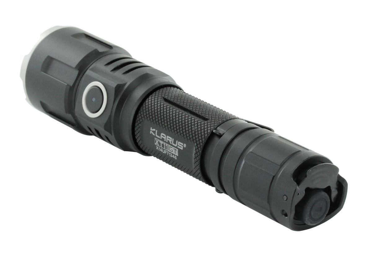 Klarus XT11GT HD Rechargeable Tactical Flashlight tail cap view