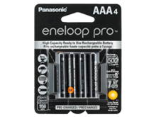 Panasonic Eneloop Pro BK-4HCCA-4BA AAA 950mAh 1.2V Low Self Discharge Nickel Metal Hydride (NiMH) Button Top Batteries - 4 Pack Retail Card