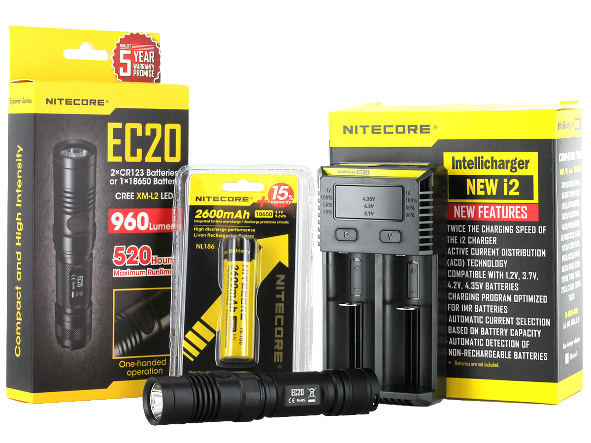 Nitecore EC20 flashlight with battery and i2 charger