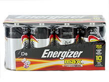 Energizer Max E95-FP-8 D Alkaline Button Top Battery - 8 Piece Family Pack
