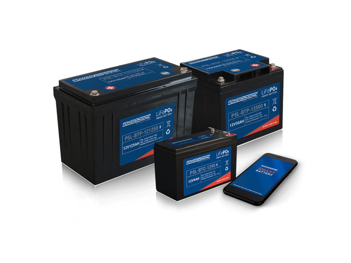 family of powersonic bluetooth series of batteries and a phone in front