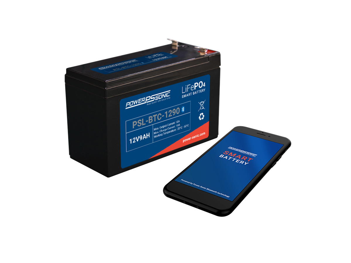 powersonic psl btc 1290 lifepo4 battery with phone next to it