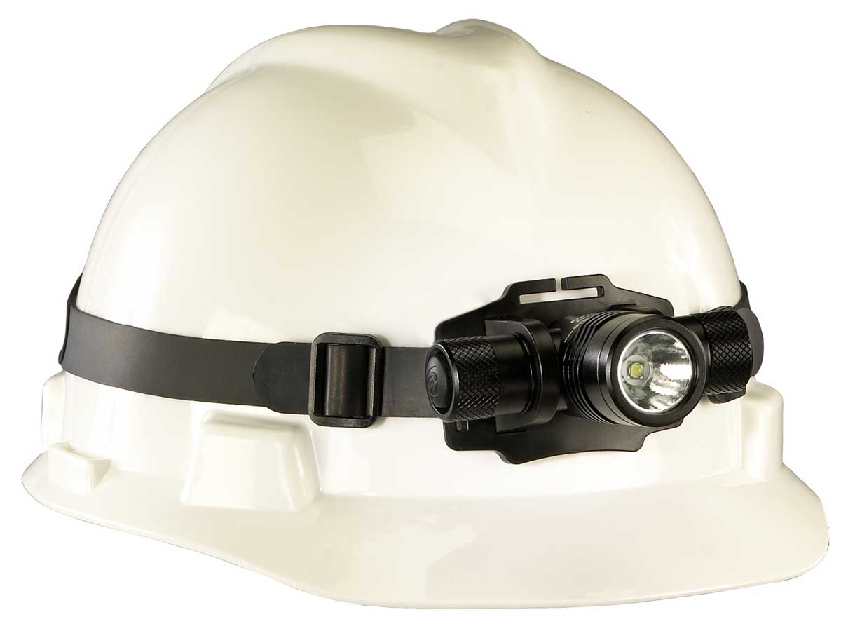 Streamlight ProTac HL USB headlamp on a white helmet