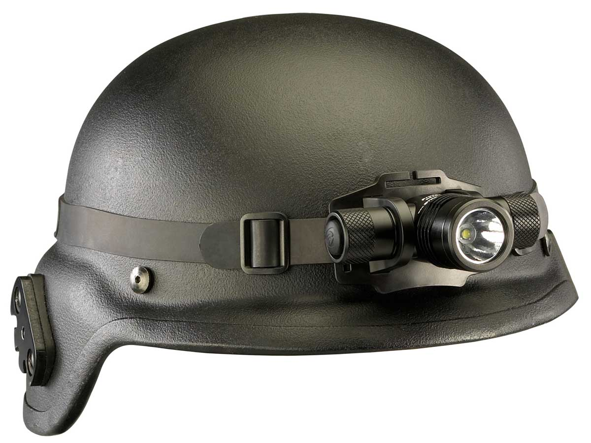 Headlamp on a Black hard hat