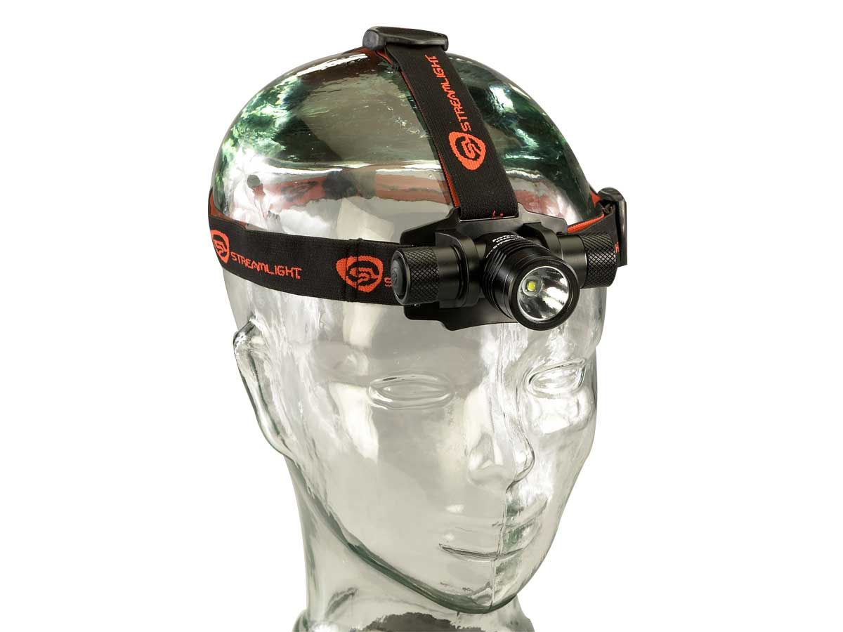 USB rechargeable headlamp on a head