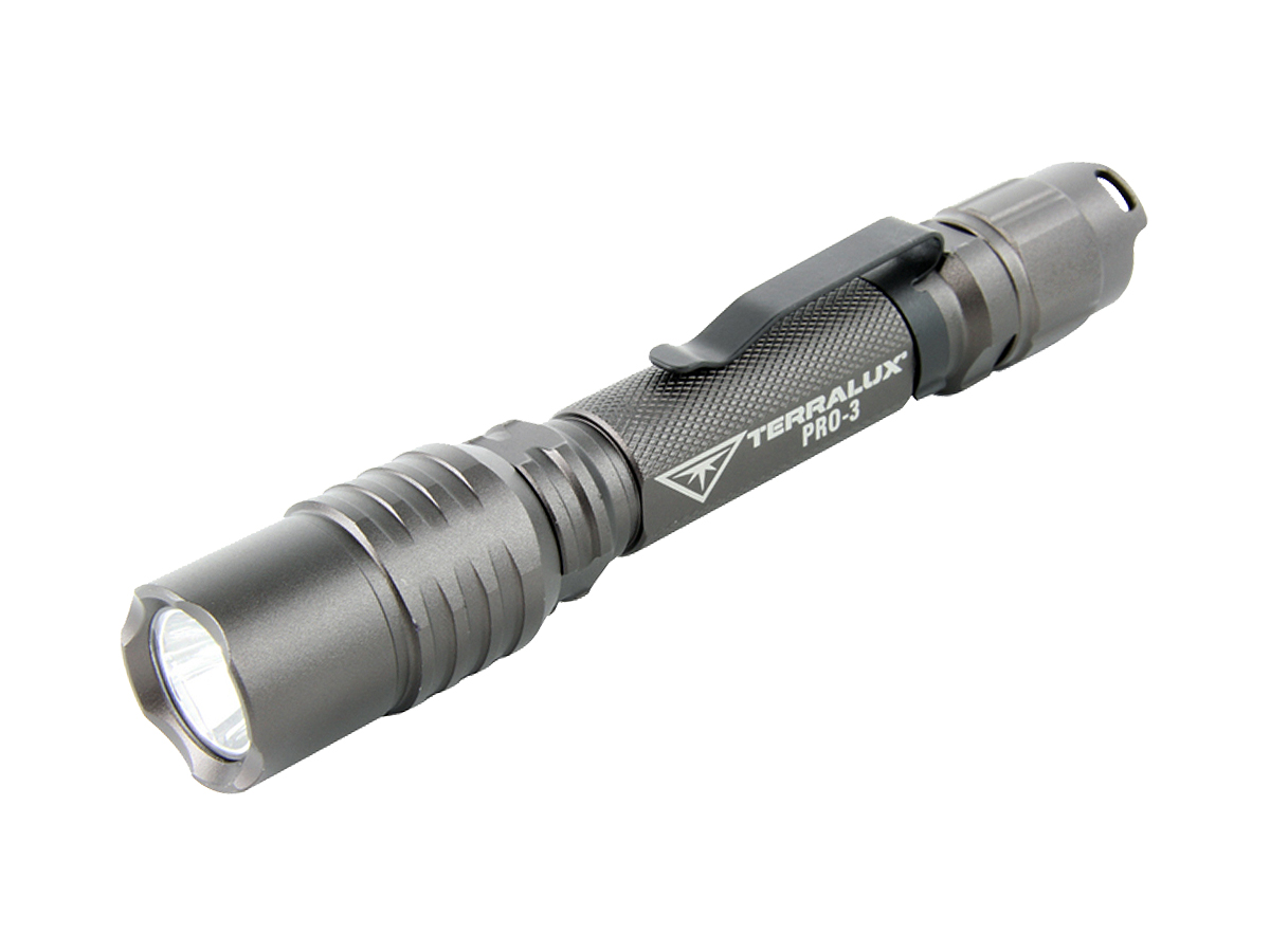 TerraLux Pro-3 flashlight left side angle in gray