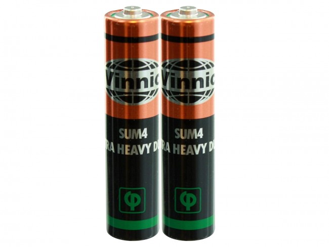 2 Vinnic Heavy Duty AAA batteries in shrink wrap