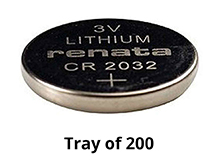Renata CR2032-IB 225mAh 3V Lithium Primary (LiMNO2) Coin Cell Batteries - Tray of 200
