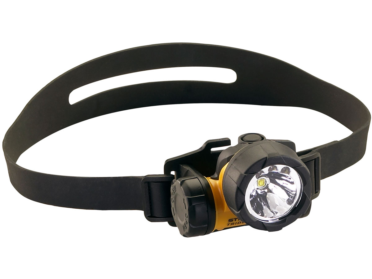 Streamlight Trident HAZ-LO Headlamp - angle with black rubber hard hat band