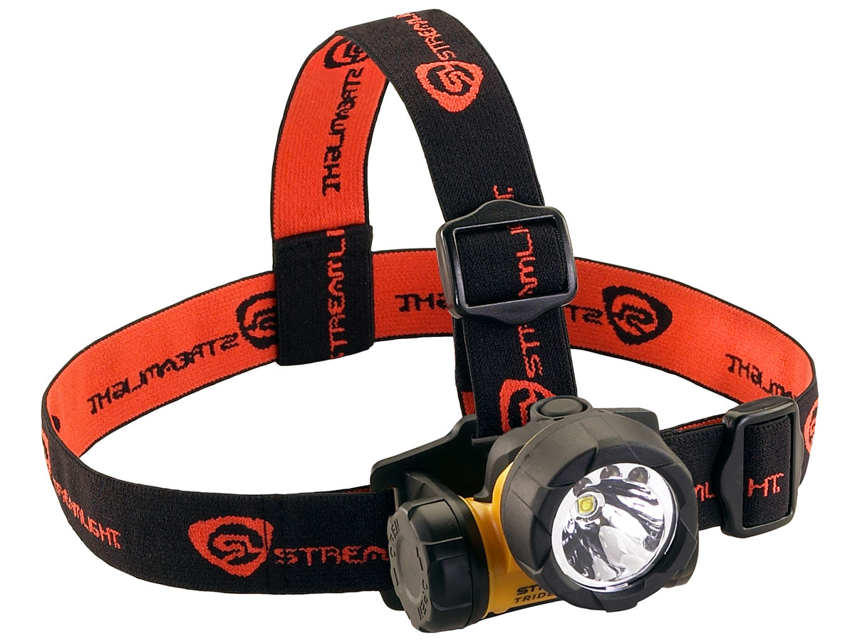 Streamlight Trident HAZ-LO Headlamp - angle shot with the black and red elastic headstrap