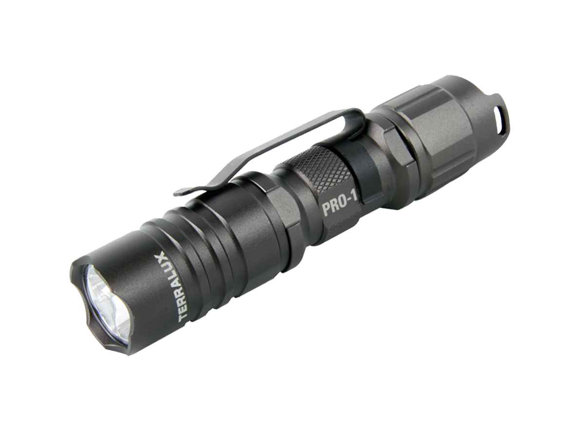 TerraLux Pro-1 flashlight in titanium grey left side angle