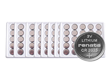 Renata CR2025 3V 165mAh Coin Cell Batteries Lithium (Li-MnO2) - Tray of 200