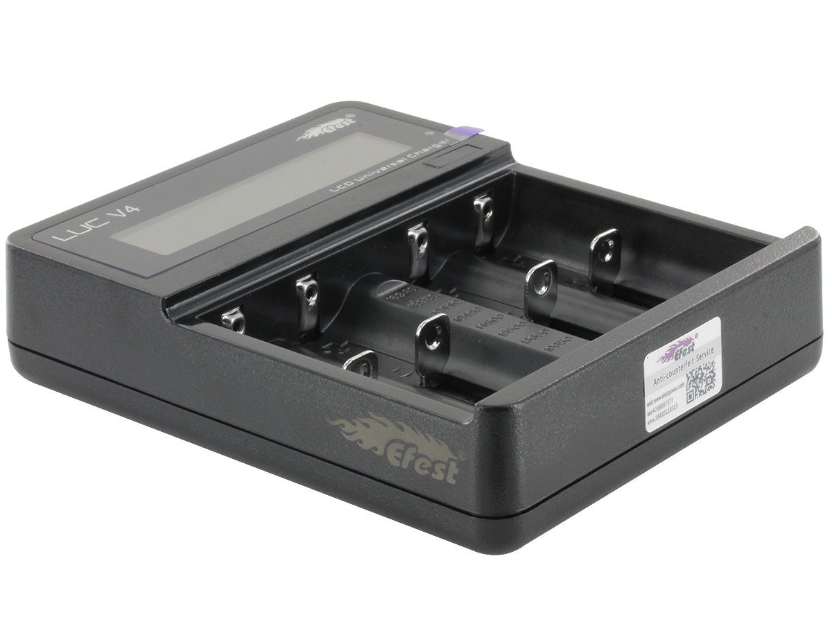 Efest LUC V4 battery charger side angle