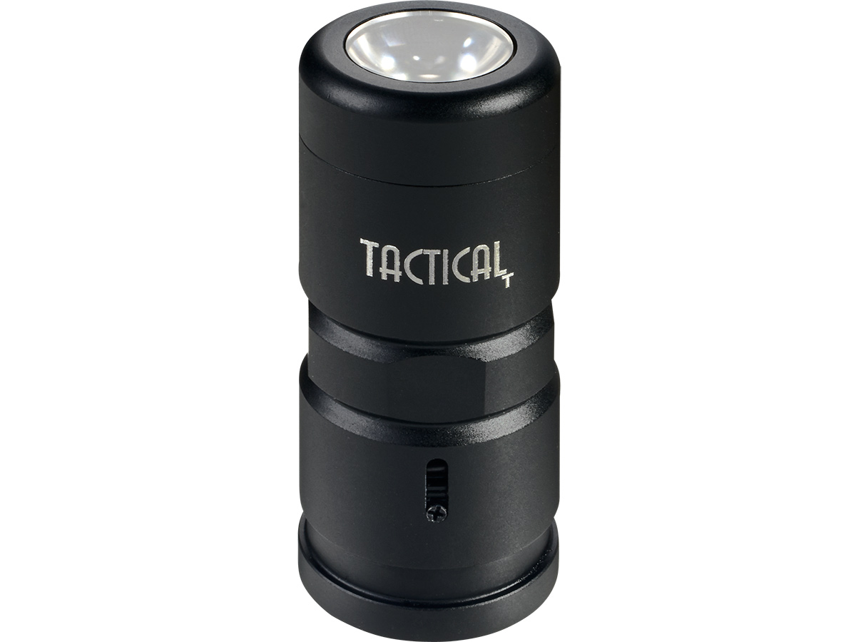 Tactical USB Rechargeable Baton Mounted LED Flashlight front view