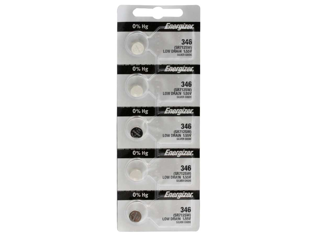 Set of 5 Energizer 346 coin cells in tear strip packaging