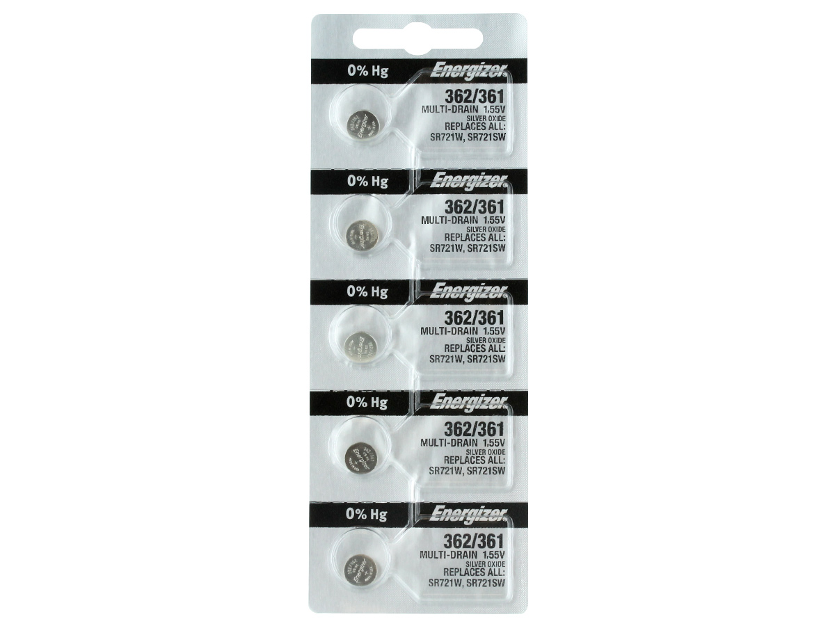 Set of 5 Energizer 361 coin cells in tear strip packaging