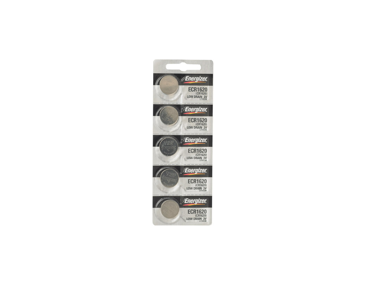 Set of 5 Energizer ECR1620 coin cells in tear strip packaging