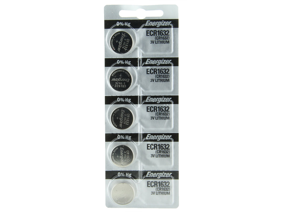 Set of 5 Energizer ECR1632 coin cells in tear strip packaging