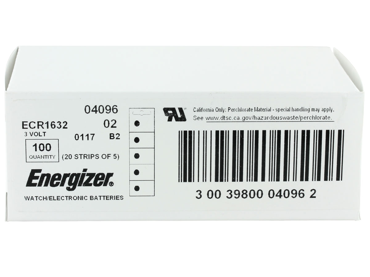 Box for bulk orders of Energizer ECR1632 coin cells
