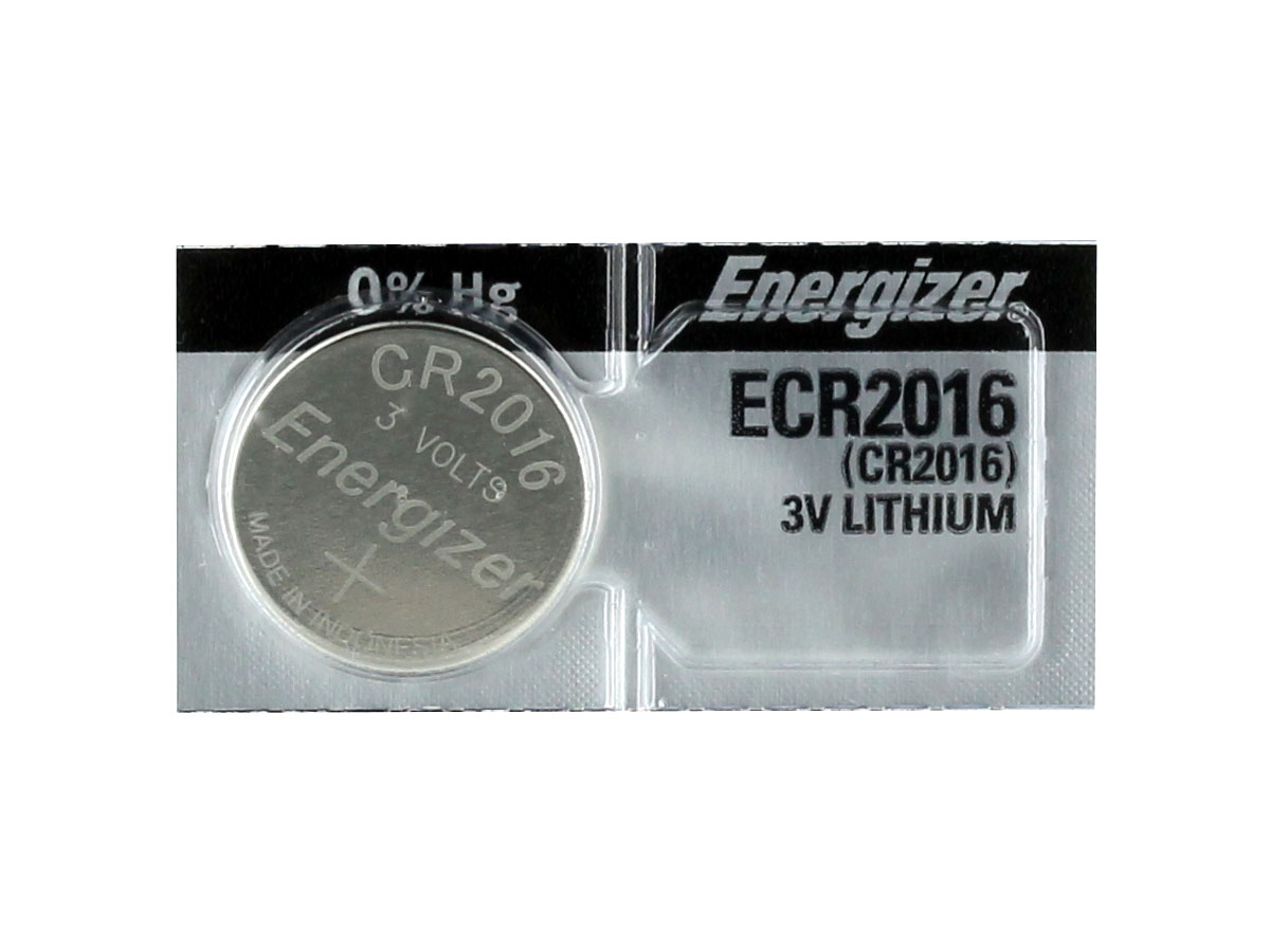 Energizer ECR2016 coin cell in tear strip packaging