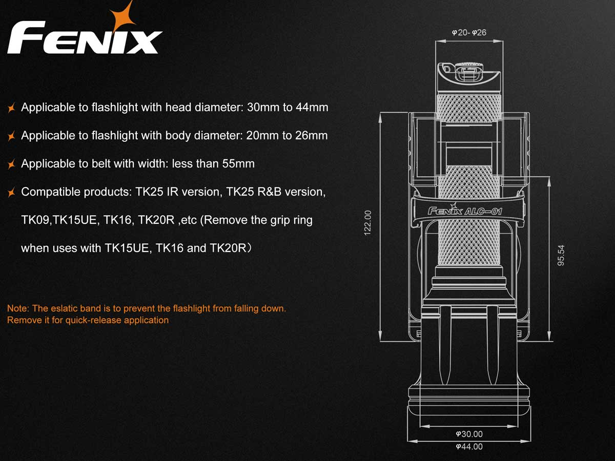 Features slide with sizing information about flashlights that will fit.