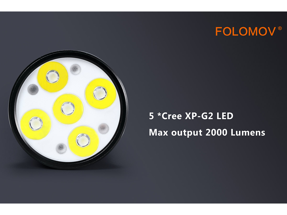 manufacturer slide about the 5 cree leds
