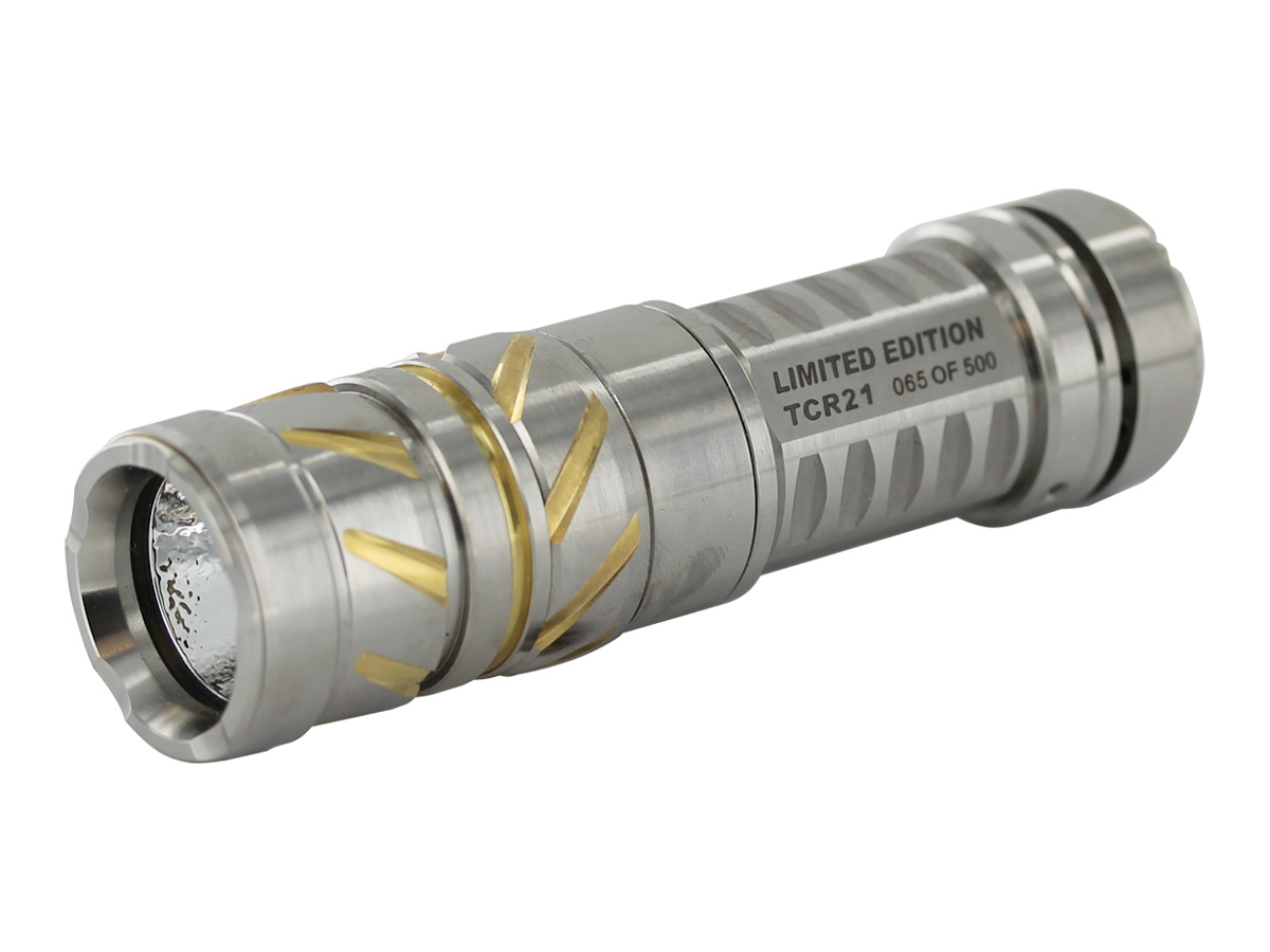 JETBeam TCR21 Ti flashlight left side angle
