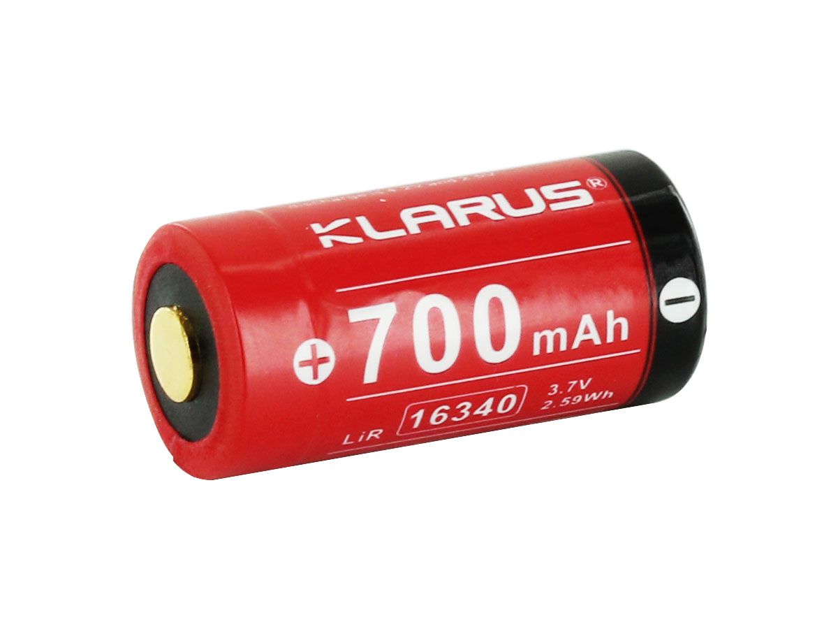 Klarus 16340 battery left side angle