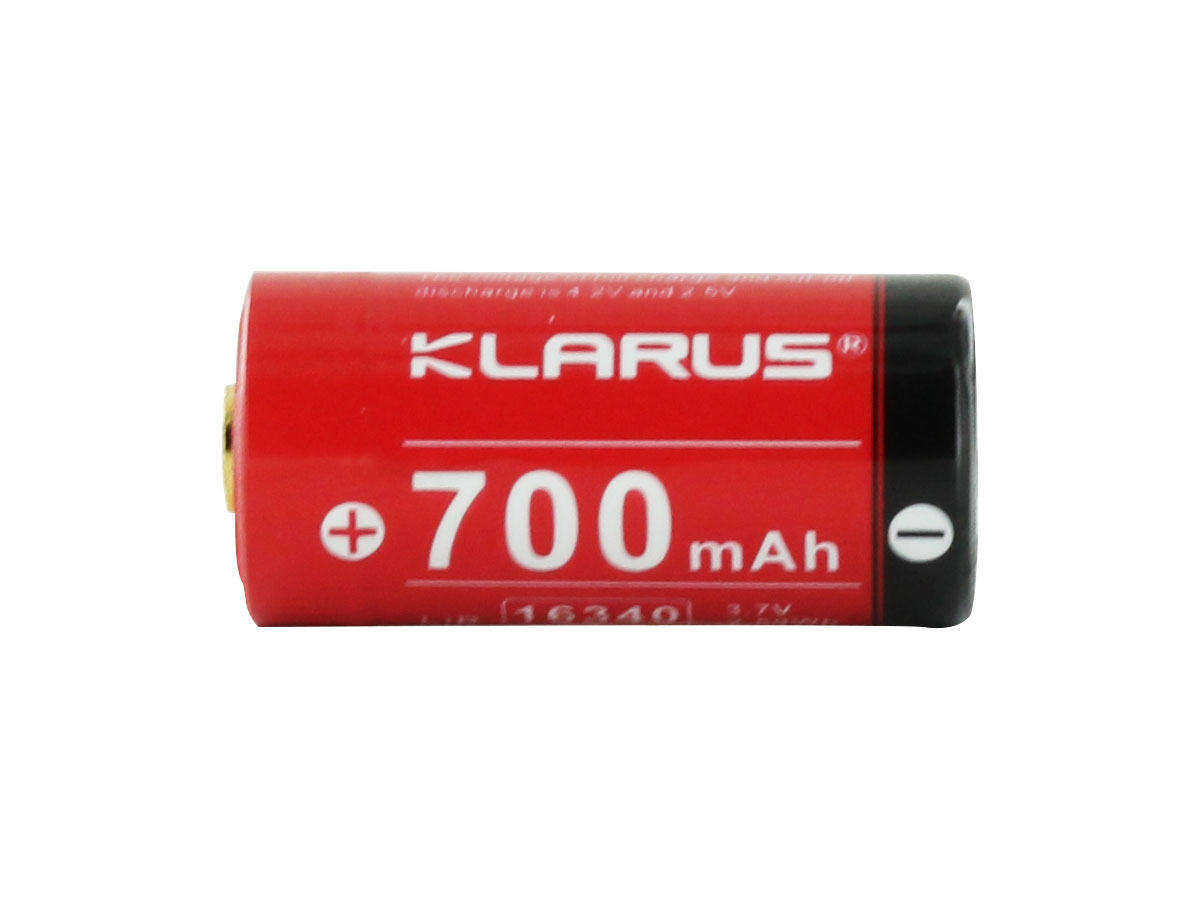 Klarus 16340 battery side profile