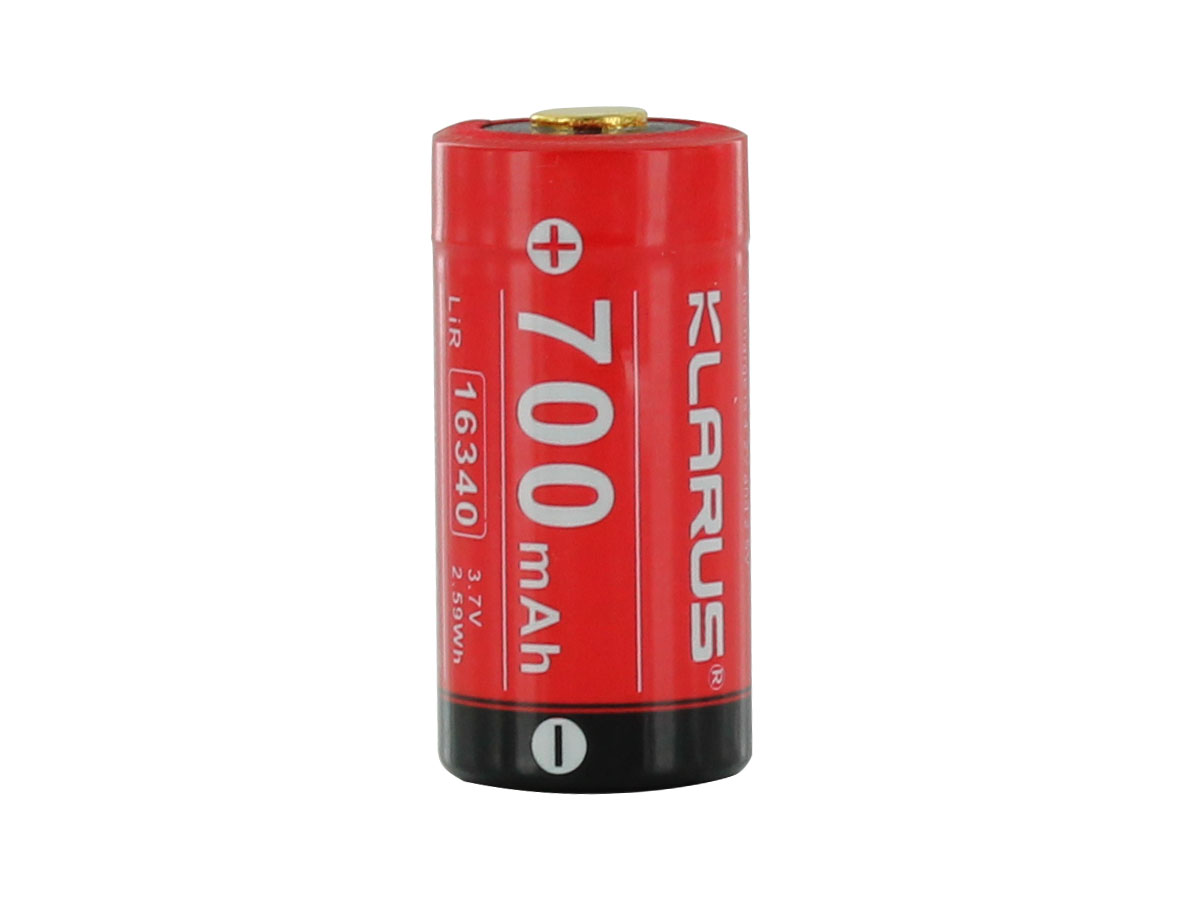 Klarus 16340 battery upright