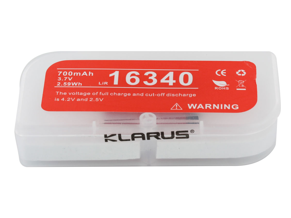 Klarus 16340 battery in closed case