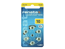 Renata ZA10 (6PK) Size 10 95mAh 1.45V Zinc Air Yellow Hearing Aid Batteries - 6 Pack Retail Card