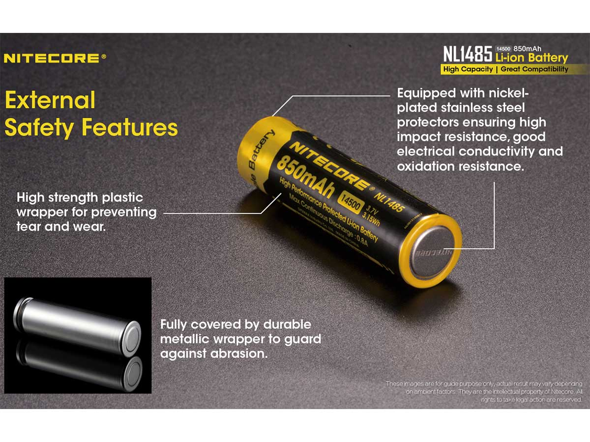 Nitecore 14500 with External Safety Features