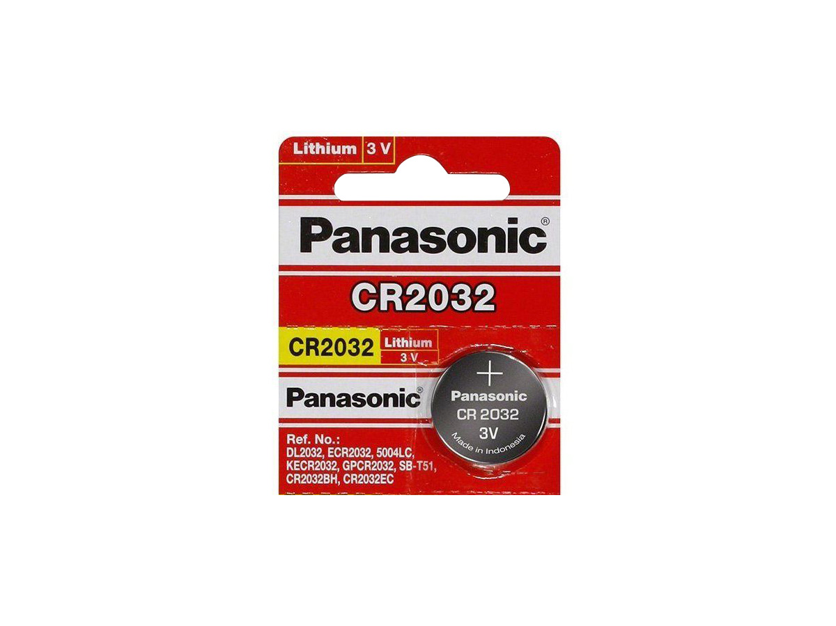 Single retail package of Panasonic CR2032 battery