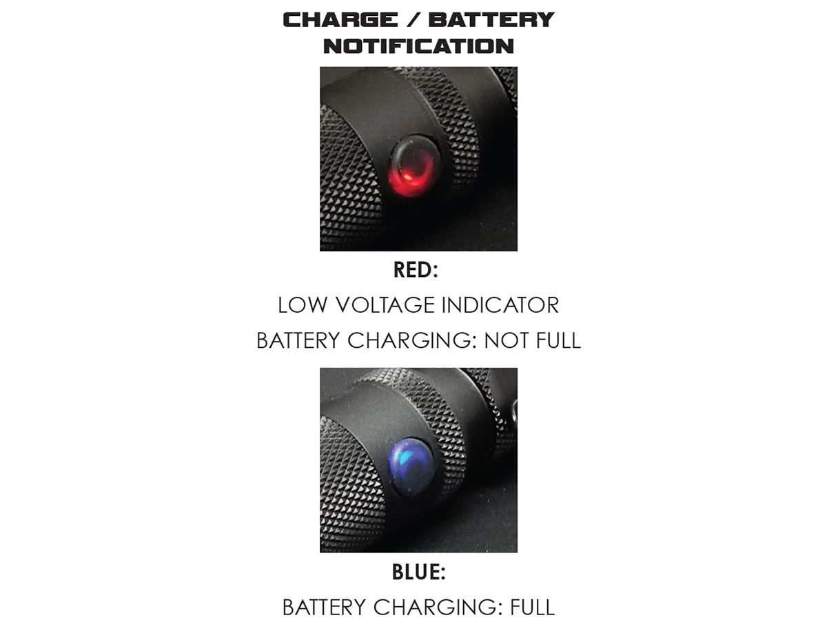 Photo of the Powertac M6 LED indicator. Red light for low battery and blue light for fully charged battery