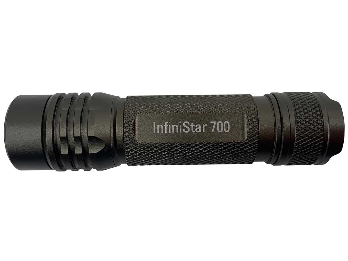 InfiniStar 700 flashlight in grey back side profile