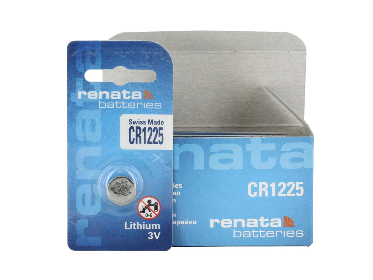 Renata CR1225-CU retail card standing next 10 piece bulk box, white background