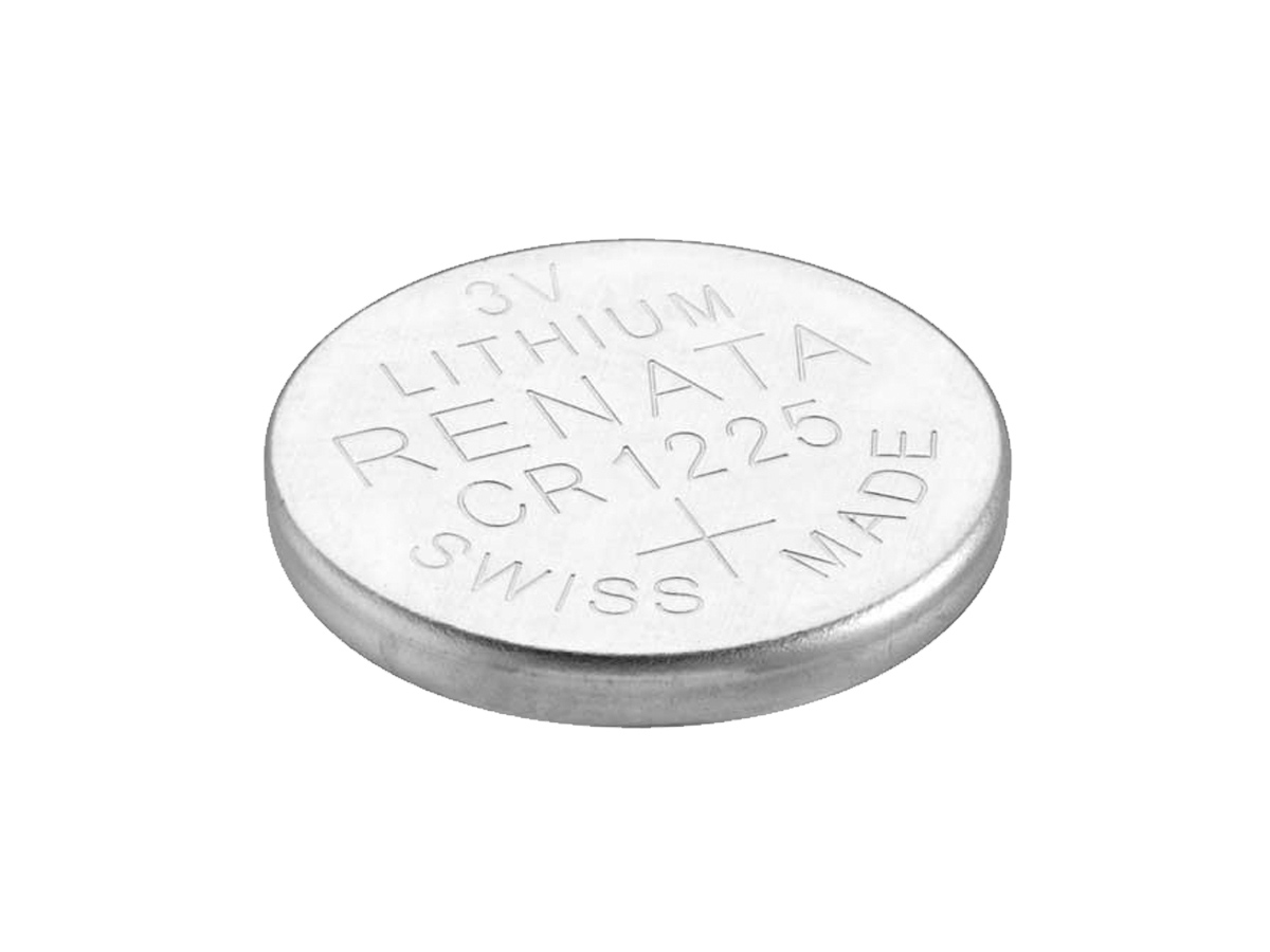 Renata CR1225 solo coin cell on a white background